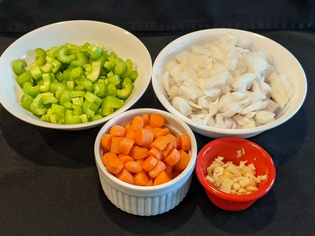 prepped celery, onion, carrots and garlic