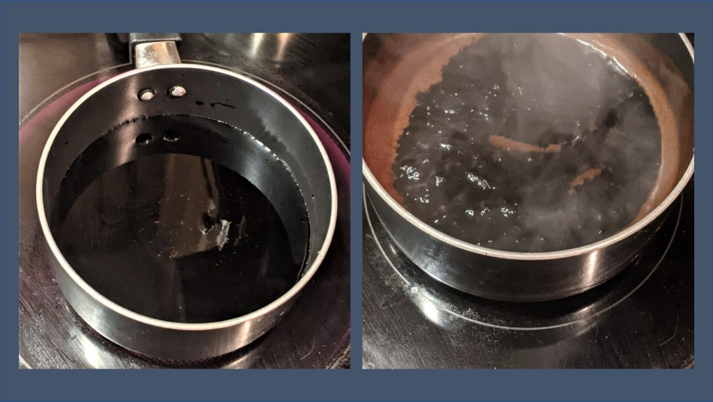 balsamic glaze cooking in pan - 2 images