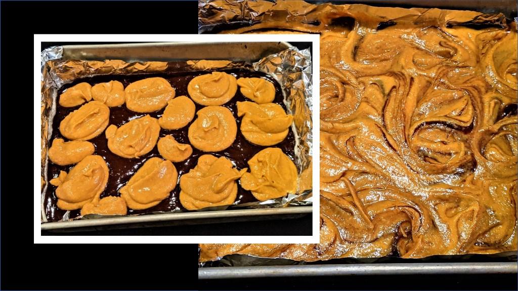 pumpkin mixture on chocolate mixture