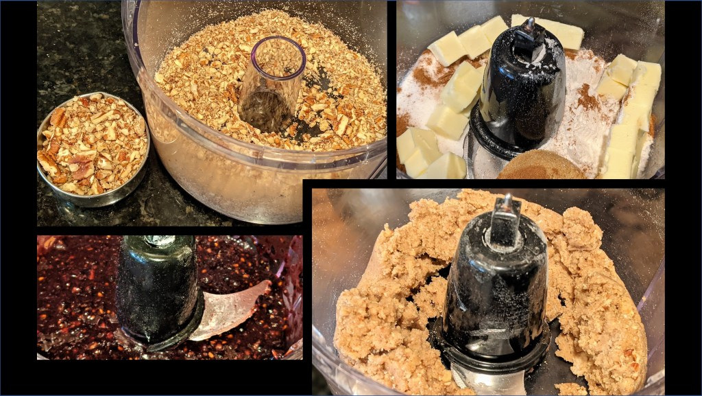Images of food processor bowl with pecans, berries, butter and crumble mixture.