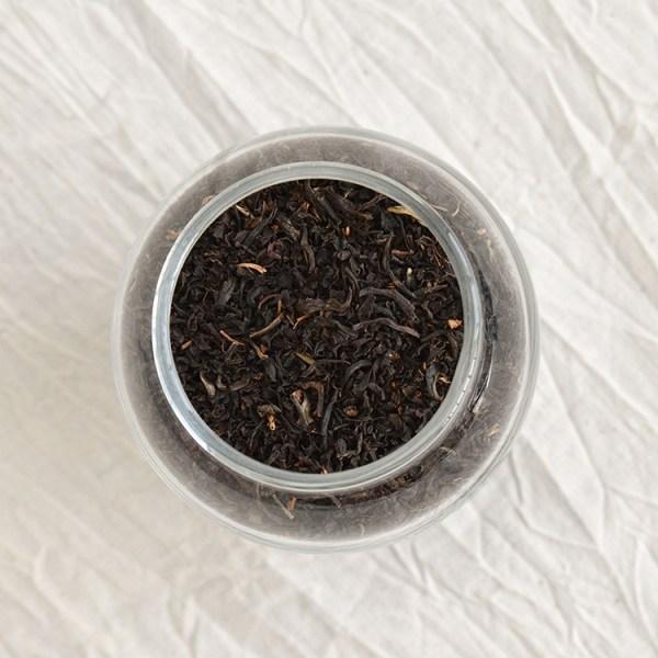 English breakfast tea leaves in a jar