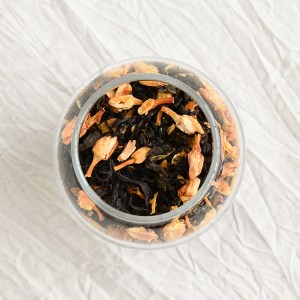 Jasmine green tea leaves in a jar