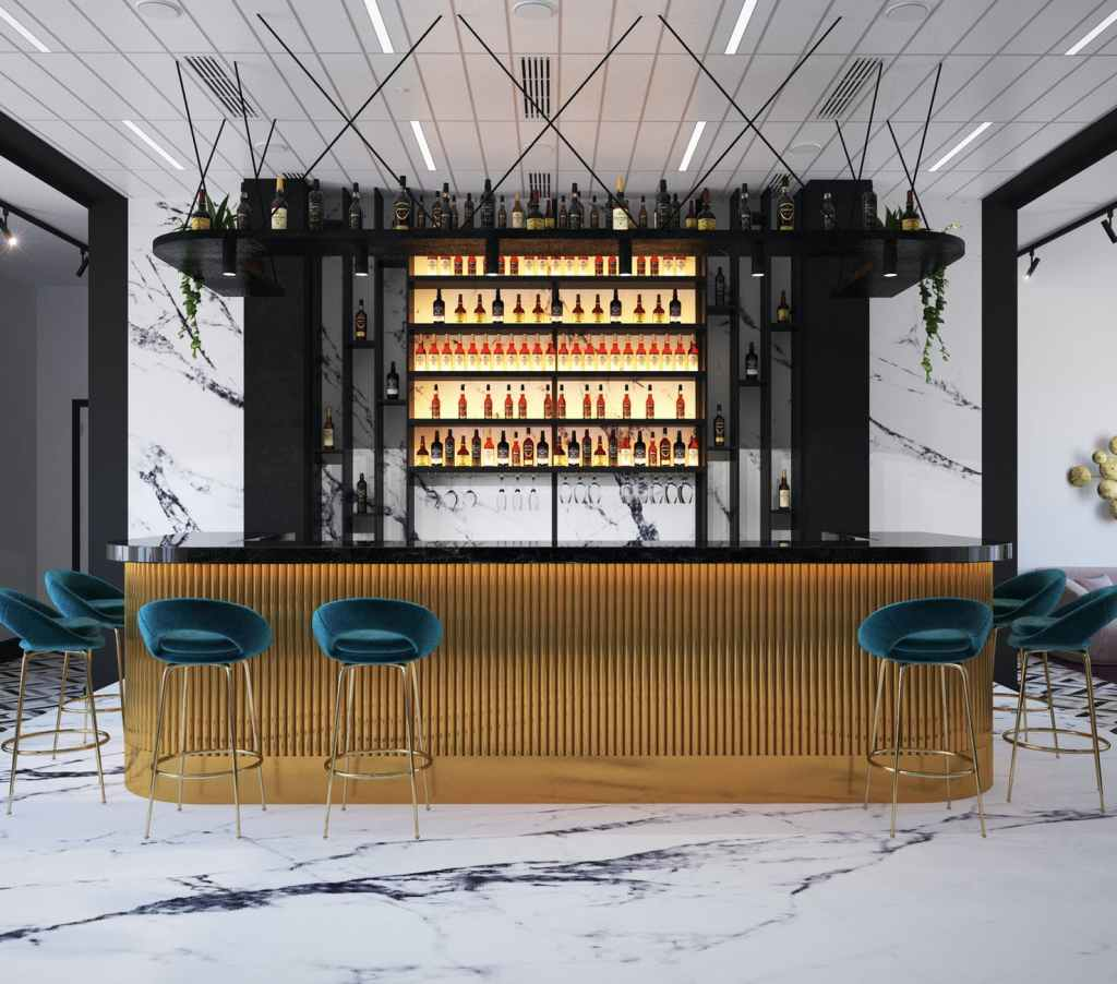 design of modern bar counter in cafe