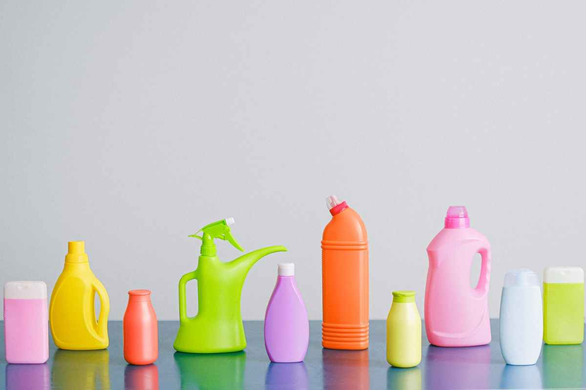 composition of detergents on table
