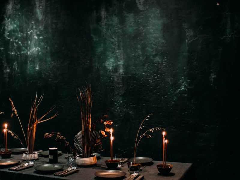banquet table in dark restaurant with loft style