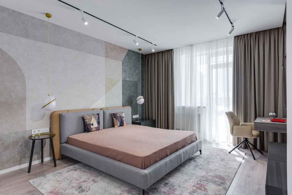 spacious comfortable bedroom in modern style