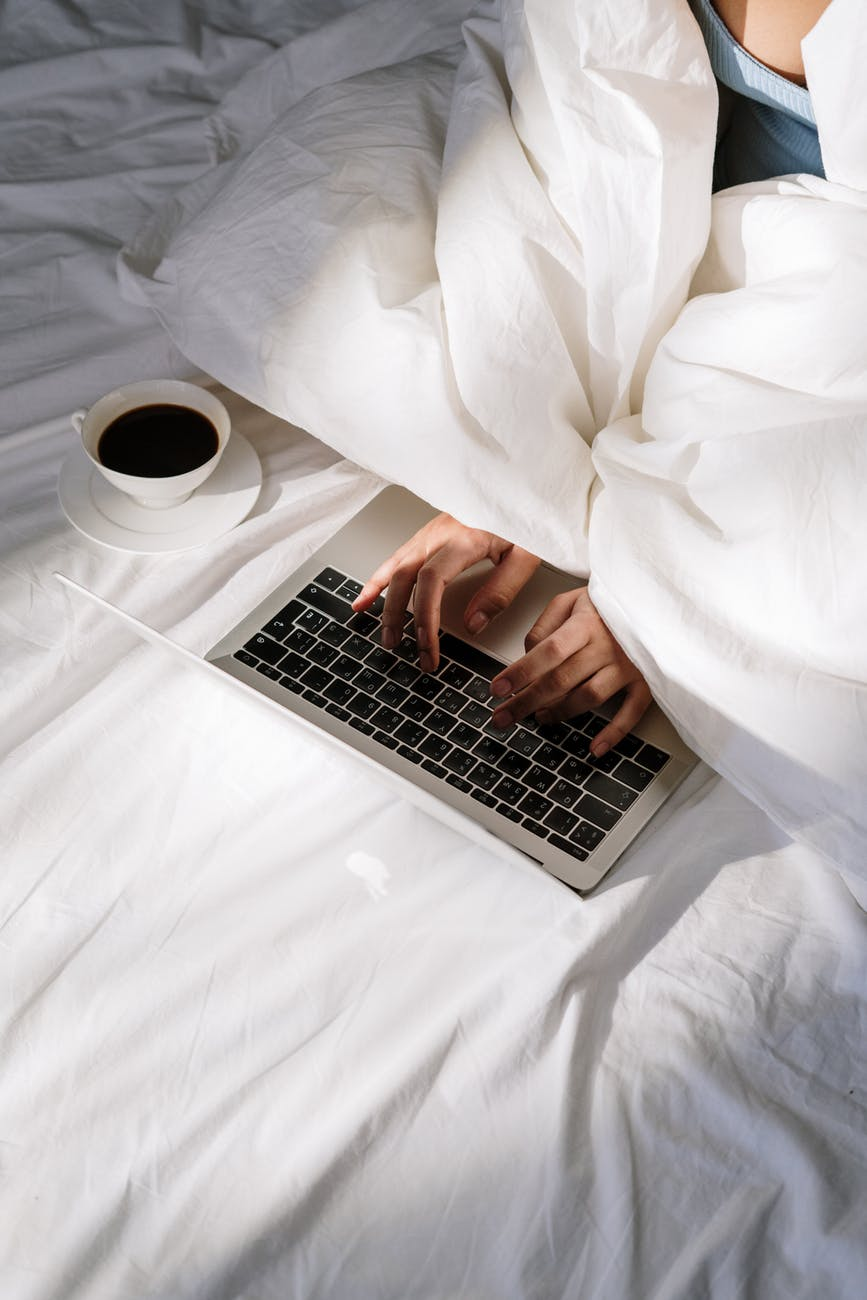 hands coffee hand laptop