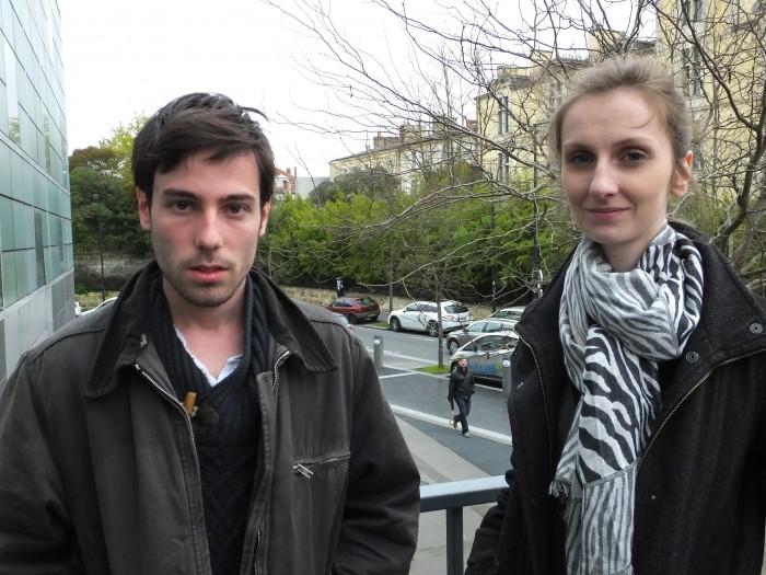 Thomas Colinet et Lisa Jeanneaud, membres des Jeunes Communistes de Gironde.