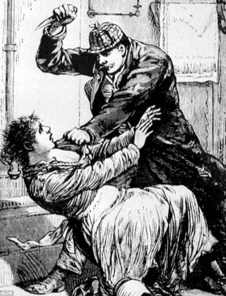 """Jack the ripper attacks woman"" , vue d'artiste, paru dans Police Gazette en 1888"