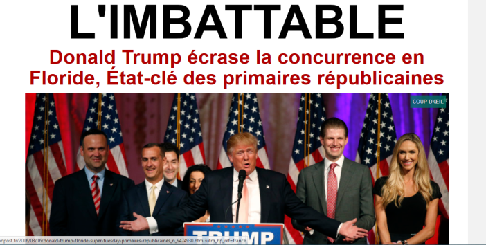 "Le Huffington Post met en une de son site ""L'imbattable"" le 16.03.16."