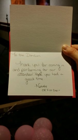 Thank you card from ConBravo! Vice-Chair, Natalie Wallace