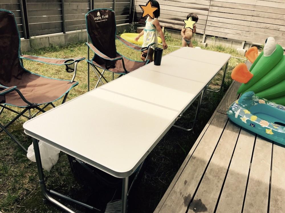 折り畳みテーブル|お庭でバーベキュー