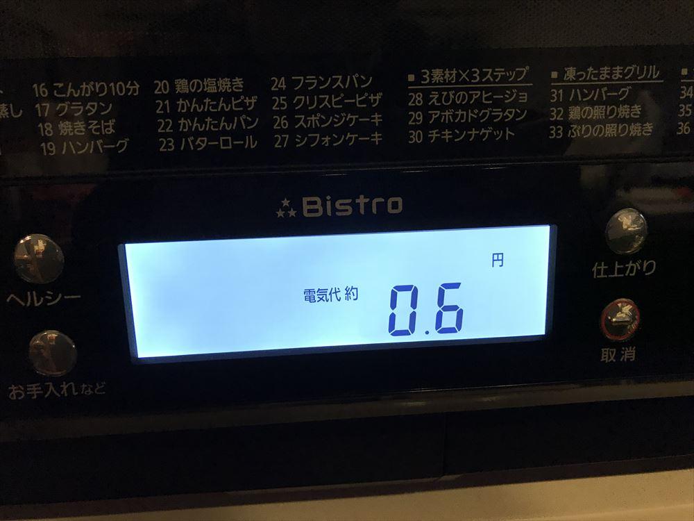 NE-BS804使ったあと電気代が表示される