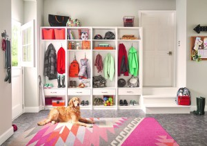 Organized Entryway with open closets, baskets, shelves and decorative rug