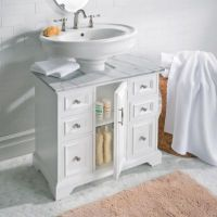 Pedestal Sink Cabinet with Marble Top | Improvements