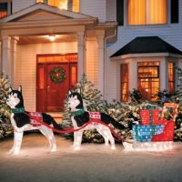 Huskies with Sleigh Lighted Outdoor Christmas Decoration ...
