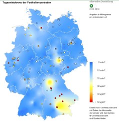 Figure 3: Average values of fine dust in different German cities on the 01.01.2018