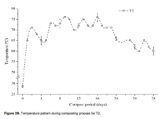Figure 13: Temperature pattern during composting process for T2