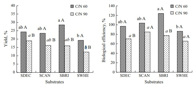 Figure 27: Yield and biological efficiency (BE) of Pleurotus ostreatus cultivated und different substrate formulations with and without supplementation.