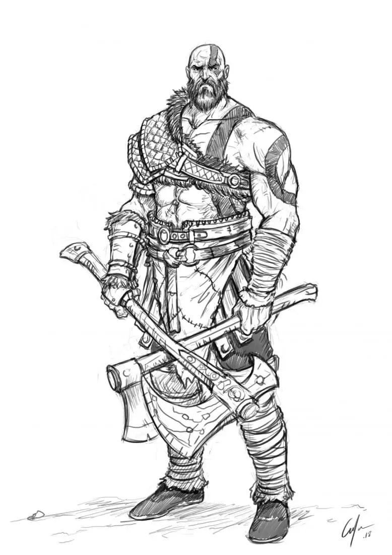 How To Draw Kratos : kratos, Improveyourdrawings.com