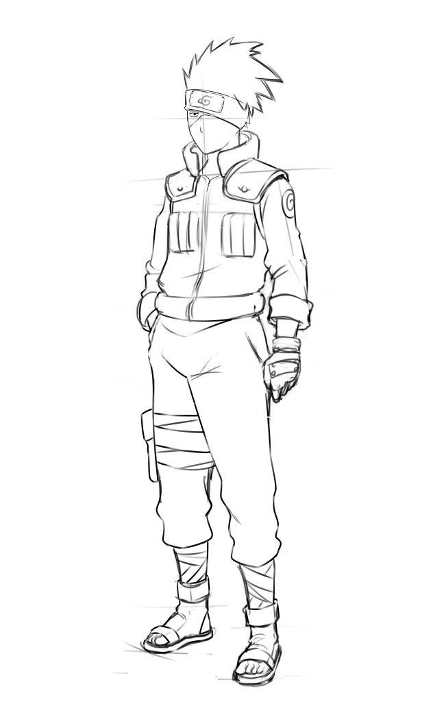Full Body Kakashi Drawing : kakashi, drawing, Naruto, Boruto:, Pencil, Drawing, Kakashi