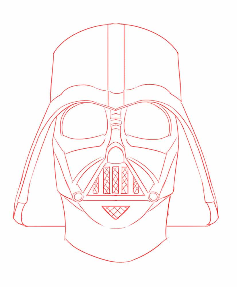 Darth Vader Outline : darth, vader, outline, Darth, Vader , Learn, Vader´s, Helmet, Improveyourdrawings.com