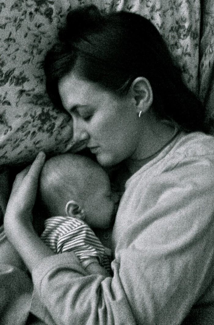 Mommy and Henry, seven weeks old