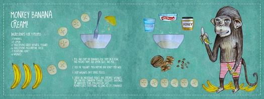 illustrated banana cream recipe