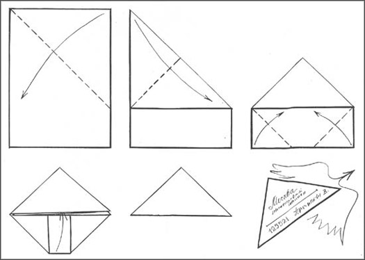 how to fold a triangle letter