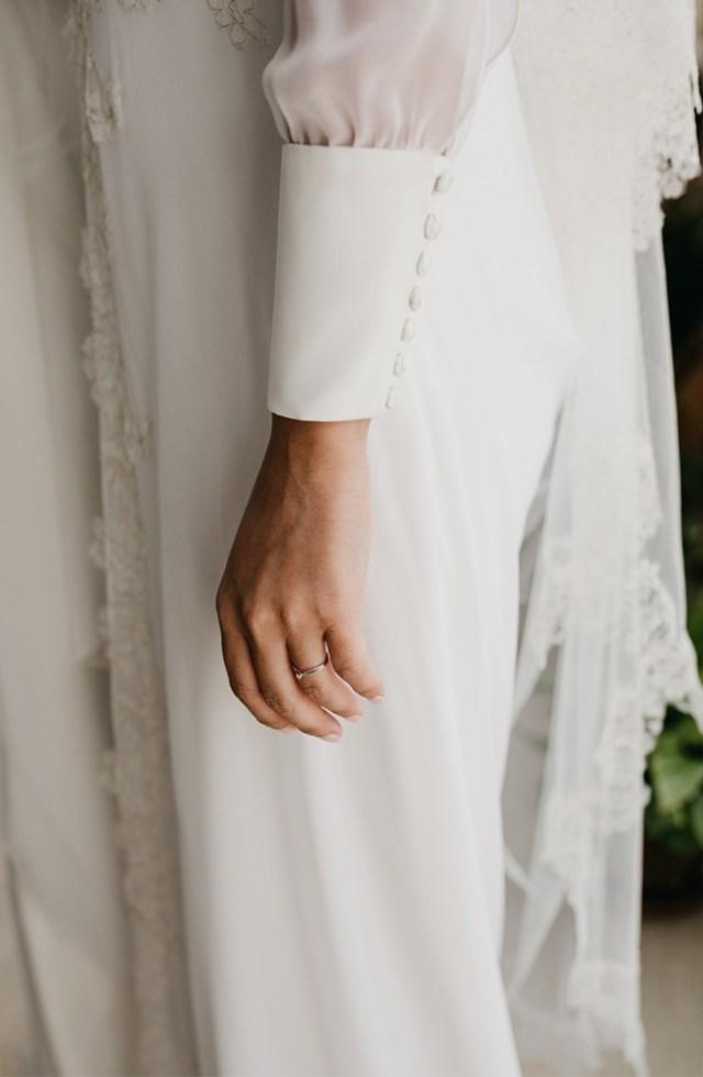 Destalle puño. Vestido de novia de la firma Impúribus