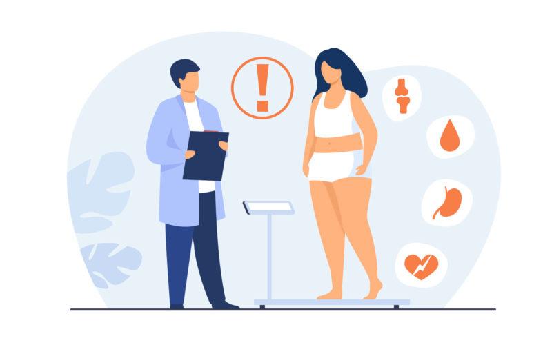 循環訓練Fat patient visiting doctor. Woman suffering from overweight, obesity, heart disease, having diabetes risk. Can be used for health problem, lifestyle, medical help concept