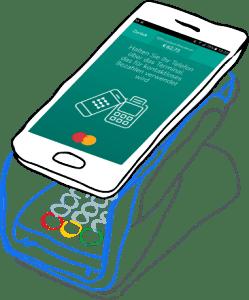 Bankomatterminal-Zeichnung mit Handy