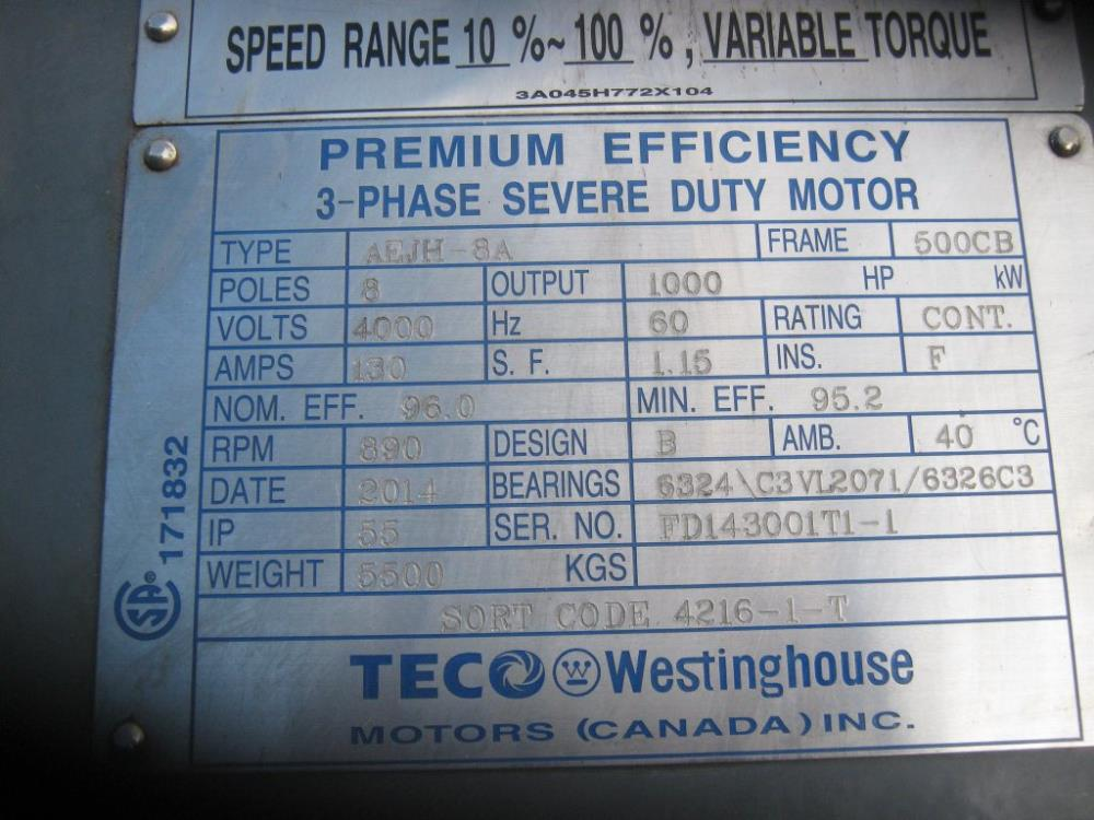 westinghouse electric motor wiring diagram 24 volt trailer plug teco motors great 1000hp new for sale in canada equipmentmine rh infomine com reversible