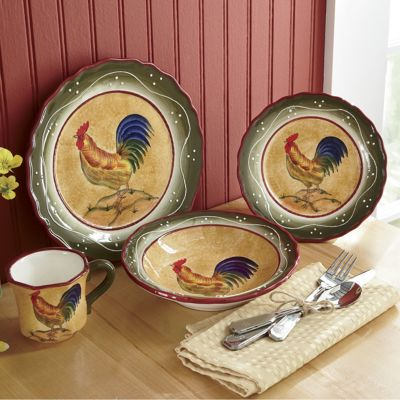 16Piece Provence Rooster Dinnerware from Seventh Avenue