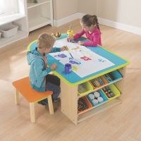 Kids Art Table with Stools and Storage from One Step Ahead ...
