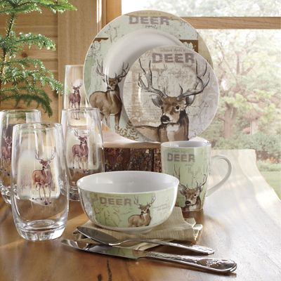 16Piece Whitetail Deer Dinnerware Set by Canterbury from