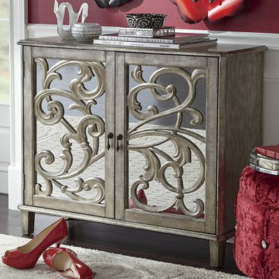 2Door Mirrored ScrollFront Cabinet from Seventh Avenue