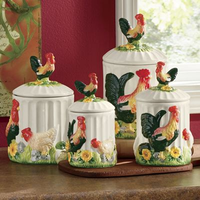 walmart kitchen chairs panton s 4-piece 3-d sunflower rooster canister set from seventh avenue | di745515