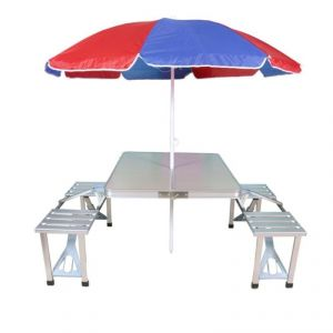 folding chair india dish target buy online best price in mart and new heavy duty aluminium portable picnic table chairs set with multicolor umbrella