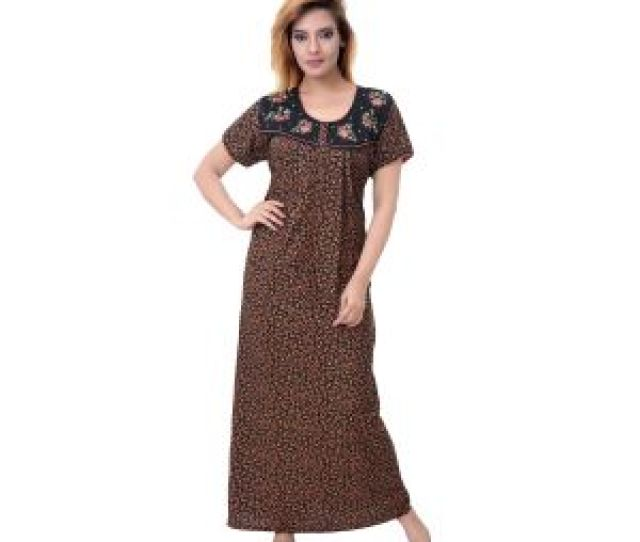 Sleeping Story Womens Poly Cotton Floral Printed Nighty Code 10389