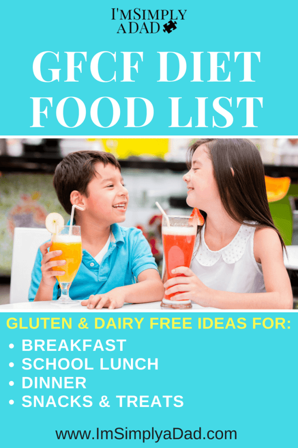 GFCF Food List: GFCF Diet for autism, ADD/ADHD. Tips, ideas, and a GFCF food list for parents to help their kids go gluten free and dairy free. Reliable GFCF brands and ideas for each meal and snack. A full week of GFCF meal options.