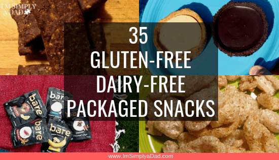 35 ideas for gluten & dairy free packaged snacks for those on a GFCF diet or just looking for healthy on the go snacks. Perfect for kids and parents alike. Find easy snacks to buy that will fit almost any diet (gluten free, dairy free, low carb, paleo, keto...) They are sorted by taste and texture from sweet treats, to savory to crunchy to high protein snacks. #gfcf #glutenfree #dairyfree #healthysnacks