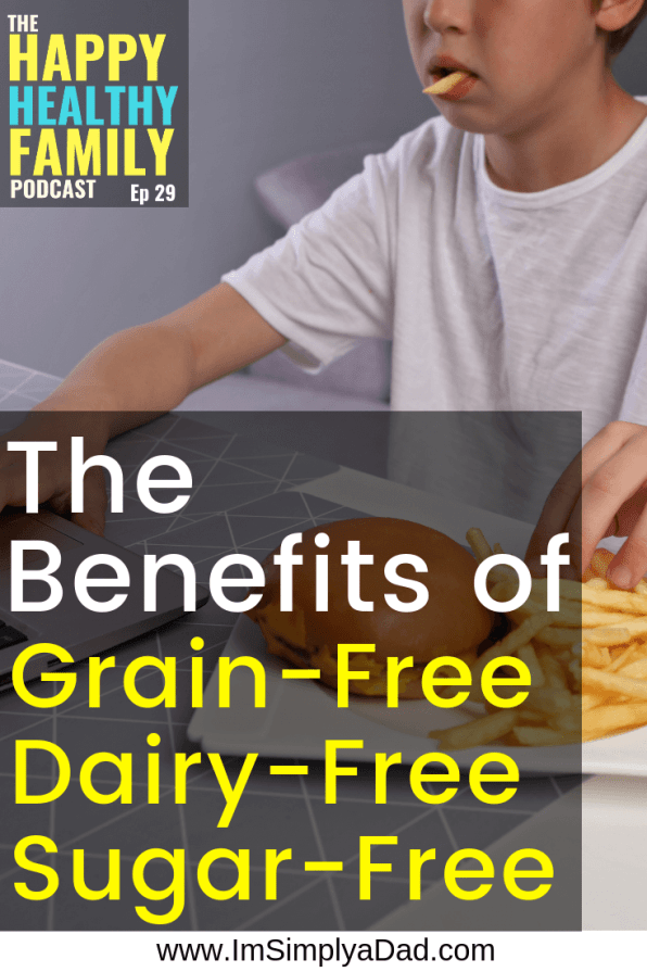 text: grain free dairy free sugar free benefits: boy eating fries while on computer