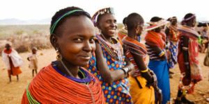 African Women Wearing Traditional Clothing --- Image by © Scott Stulberg/Corbis