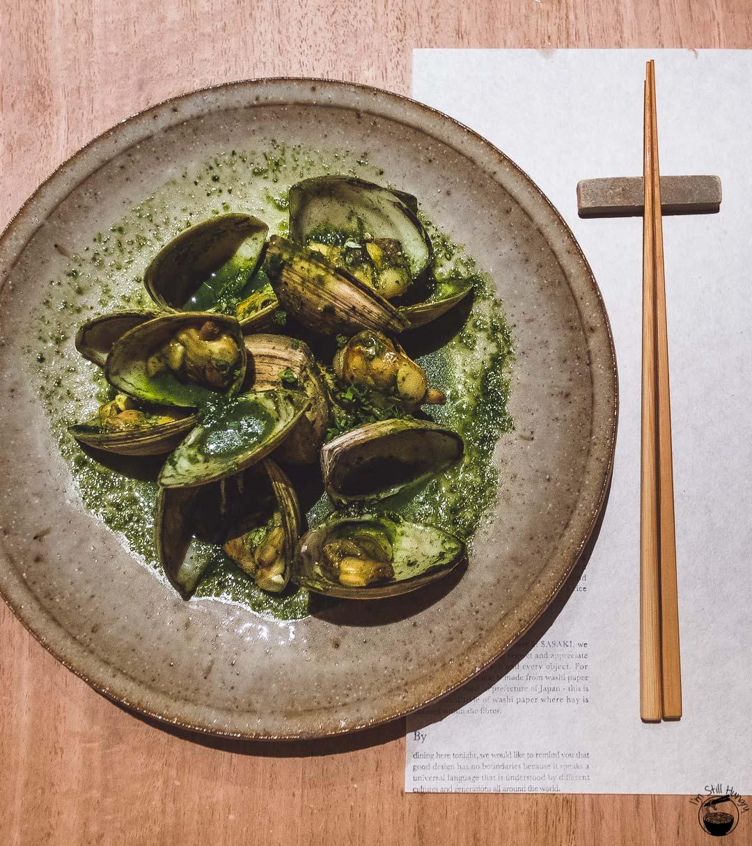 Restaurant Sasaki Surry Hills-11 Clams, sake & shungiku