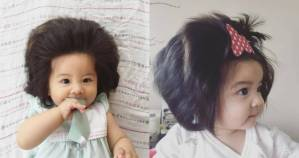 7-month-old baby that has lots of hair like an adult (Photos)