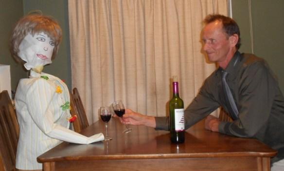 Jim toasting friend