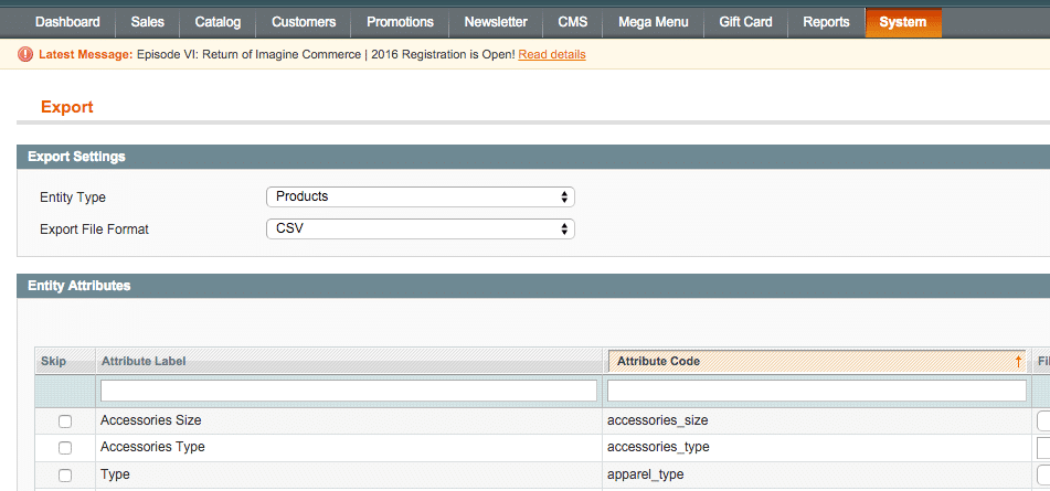 magento export products