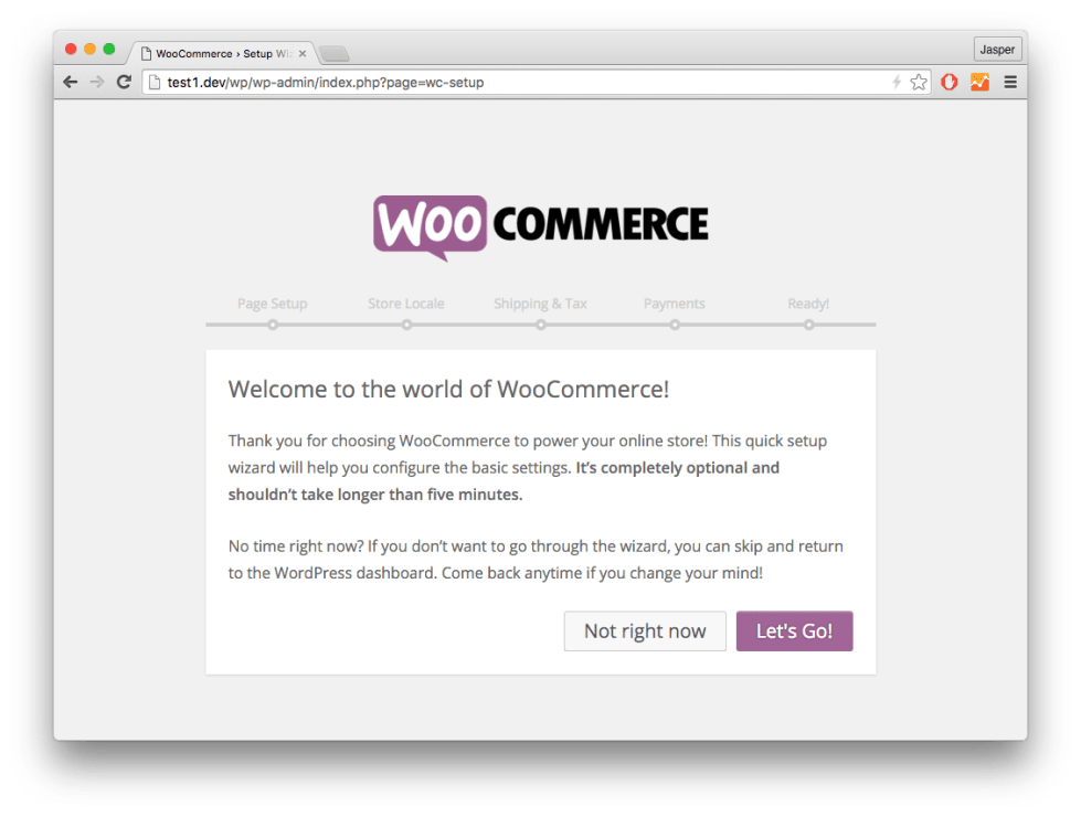 WooCommerce Guided setup