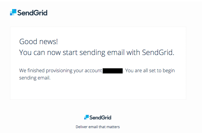 SendGrid - Provisioning done